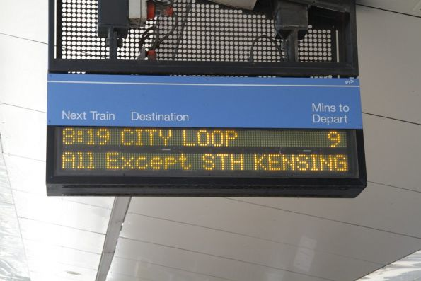 New style message on the Sunbury line - 'All Except STH KENSING'
