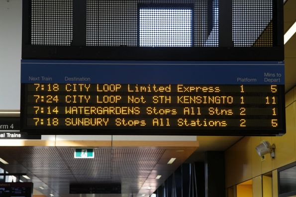 'CITY LOOP Not STH KENSINGTO' message on the next train display for a Sunbury line train at Sunshine