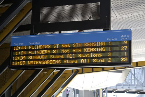 'FLINDERS ST Not STH KENSING' message on the next train display for a Sunbury line train at Sunshine