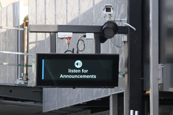 'Listen to Announcements' message displayed on the PIDS at St Albans