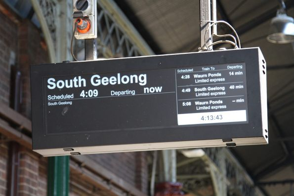 Every train headed south from Geelong displayed as 'limited express' despite stopping all stations