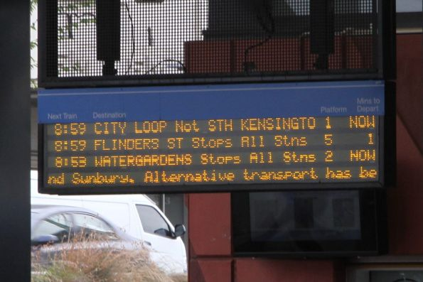 Useless 'alternate transport has been arranged' message prevents useful information being displayed
