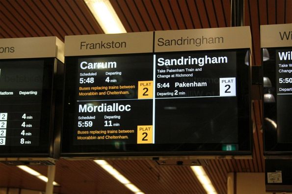 Orange text used to inform passengers of disruptions