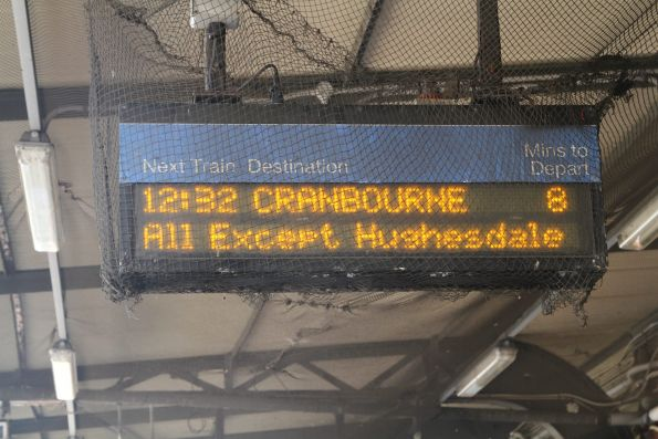 Cranbourne trains stopping all stations except Hughesdale