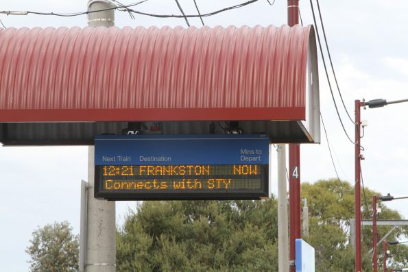 'Connects with STY' message on the PIDS for a down Frankston service