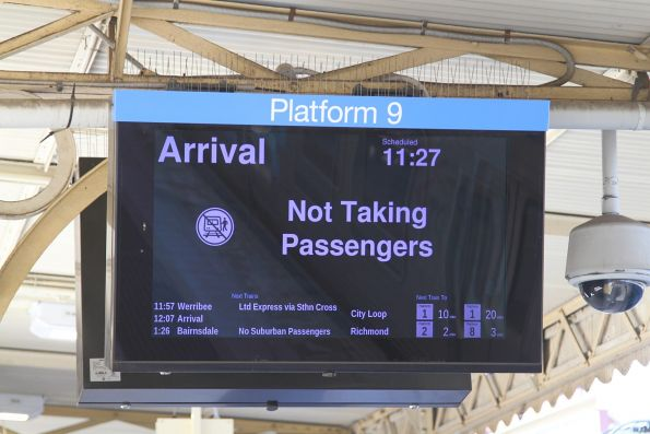 'Arrival - not taking passengers' displayed at Flinders Street platform 9