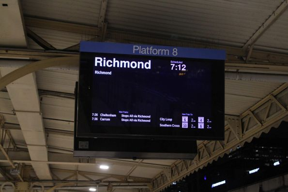 Football special to Richmond is the next departure from Flinders Street Station platform 8