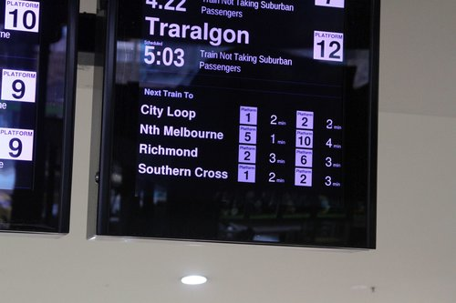 Next trains to City Loop, North Melbourne, Richmond and Southern Cross are listed on the screens at Flinders Street Station