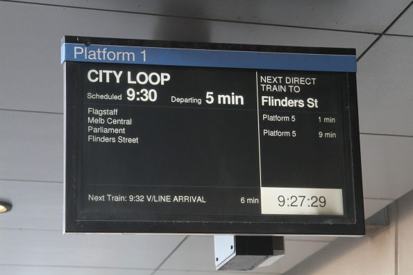 Next service at North Melbourne platform 1 is a 'V/Line Arrival'