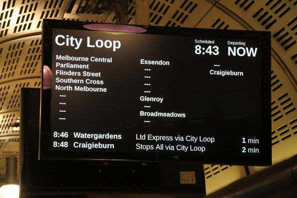 Down Craigieburn service at Flagstaff station advertised as 'City Loop'