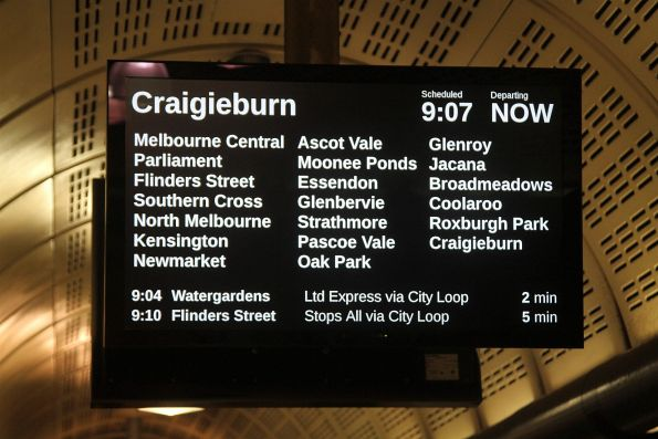 The programming on the PIDS at Flagstaff station has changed again - the station list now fills the entire screen