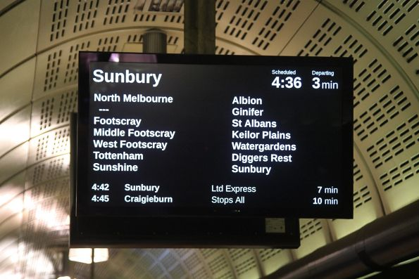 The programming on the PIDS at Flagstaff station has changed so that Sunbury services fill the entire screen