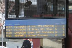 The next two services from Footscray are both direct to Flinders Street departing the same time, but one is running four minutes late
