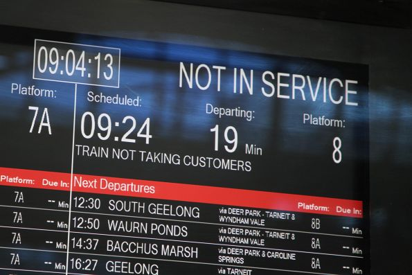 'Not in service' train next to depart Southern Cross platform 8