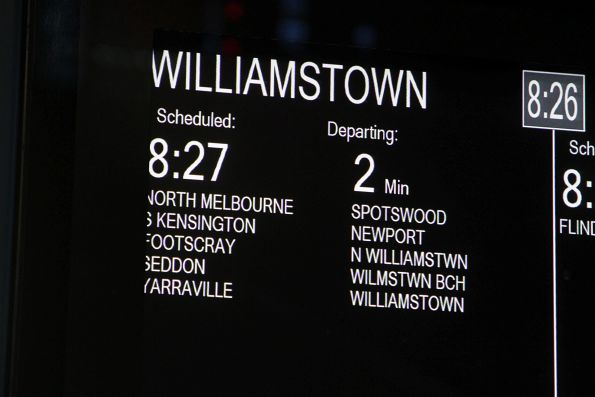 Three ways to spelling 'Williamstown' at Southern Cross - including 'N Williamstwn' and 'Wilmstwn Bch'
