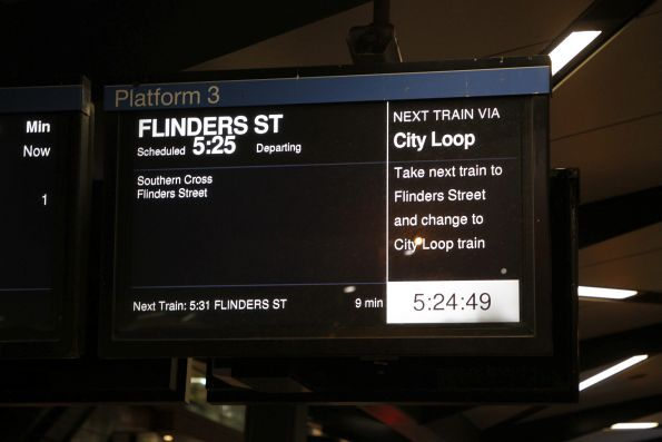 The next departure from North Melbourne platform 3 has no estimated arrival time