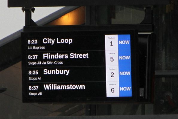 The next four departures from Footscray station are all NOW