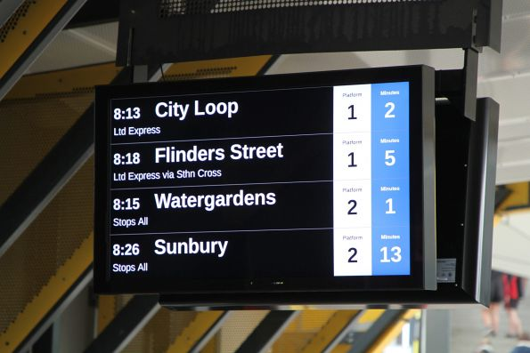 New LCD PIDS at Sunshine station show every train as 'Ltd Express'