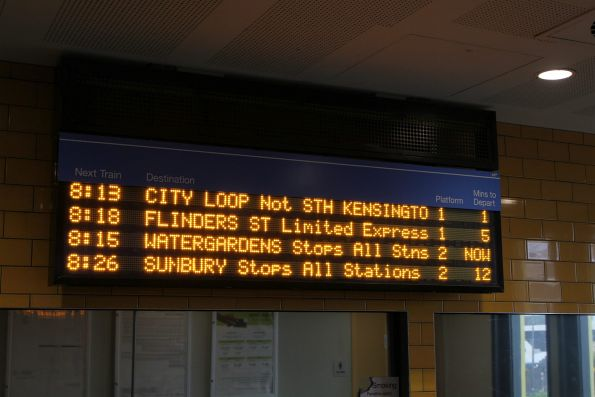 The last remain LED PIDS at Sunshine station correctly display the stopping patterns
