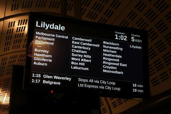 LCD PIDS at Flagstaff station show the list of stations for a Lilydale service across four columns