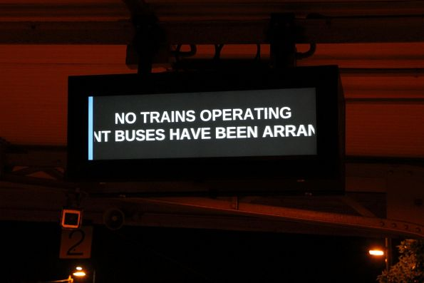 'No trains operating. Replacement buses have been arranged' message scrolling on the LCD PIDS at North Williamstown station