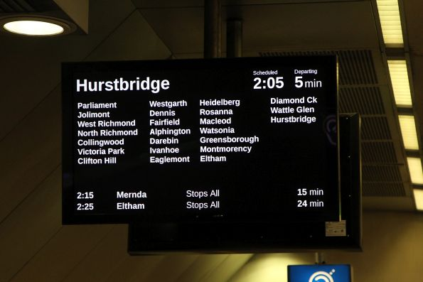 Hurstbridge service on the LCD PIDS at Melbourne Central
