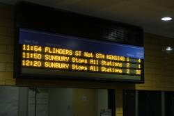 LED PIDS at Sunshine have moved everything up a line as soon as there is only one up train left to depart