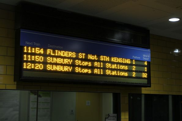 LED PIDS at Sunshine have moved everything up a line as soon as there is only one up train left ot depot