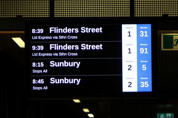 Just past 8pm in the 'World's most liveable city' and the next trains are 31 and 91 minutes away!