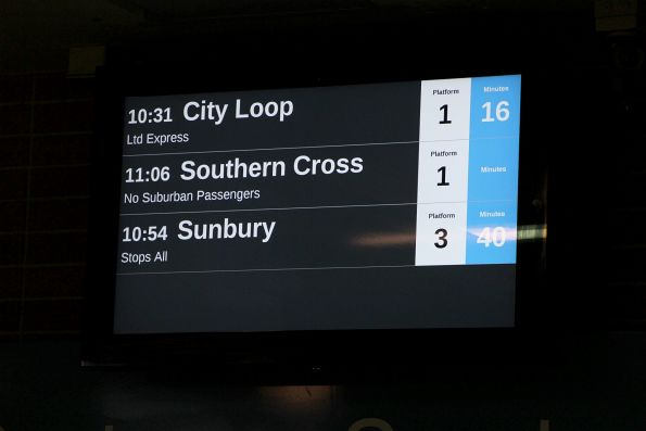 V/Line service listed on the LED PIDS at Watergardens station