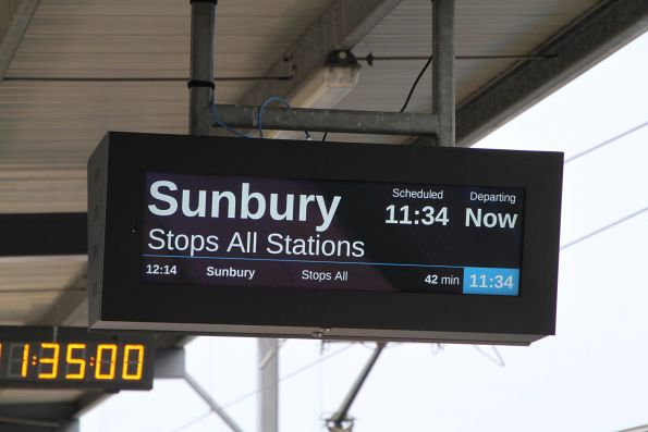 'Stops all stations' message on the LCD PIDS at Watergardens station
