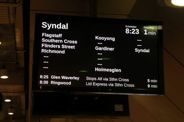 Syndal train displayed on the PIDS at Melbourne Central