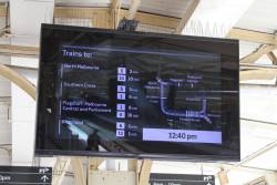 New animated LCD PIDS on the platforms at Flinders Street Station showing the next trains via the City Loop