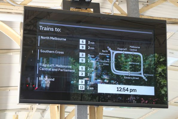 The next train from Flinders Street Station to anywhere and everywhere will depart in 2 minutes!