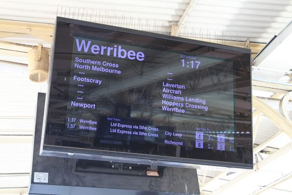 Werribee trains displayed as express Paisley and Galvin on the PIDS at Flinders Street Station