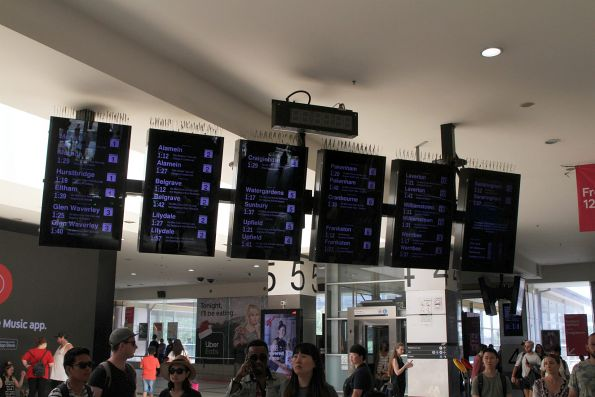 Bank of LCD screens at the main entrance to Flinders Street Station unchanged for now