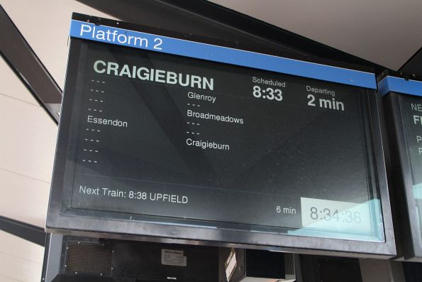 Down Craigieburn service running express from North Melbourne to Essendon, Glenroy, Broadmeadows and Craigieburn