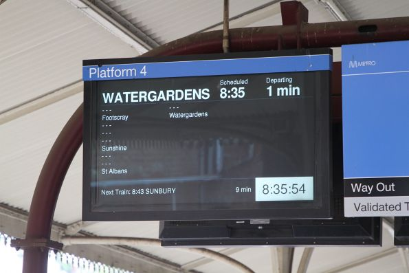 Down Watergardens service running express from North Melbourne to Footscray, Sunshine and St Albans.