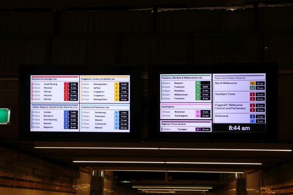 New format display at Flinders Street, summary board in the centre subway