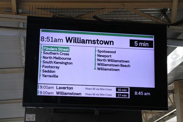 New format display at Flinders Street, showing a Williamstown service