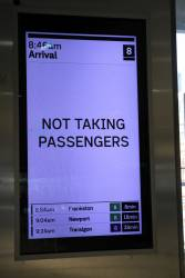 New format display at Flinders Street, showing a service not taking passengers