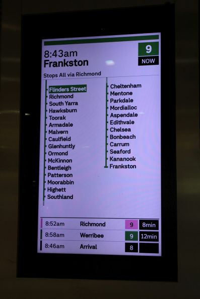 New format display at Flinders Street, showing a Frankston service