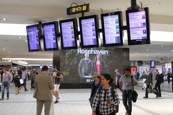 New format display on the main concourse at Flinders Street Station