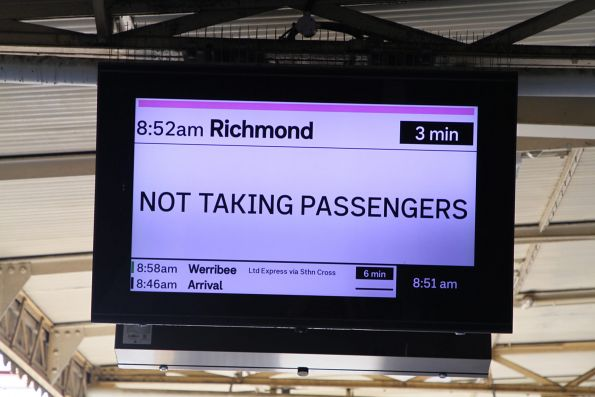New format display at Flinders Street, showing a Richmond service as 'Not taking passengers'