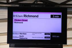 New format display at Flinders Street, now showing the Richmond service as normal
