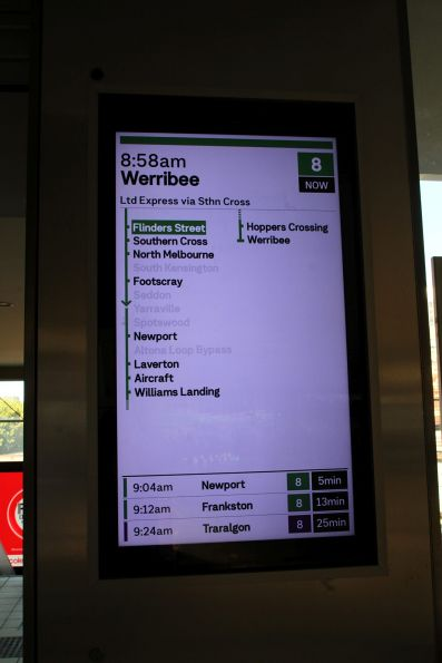 New format display at Flinders Street, showing a Werribee service