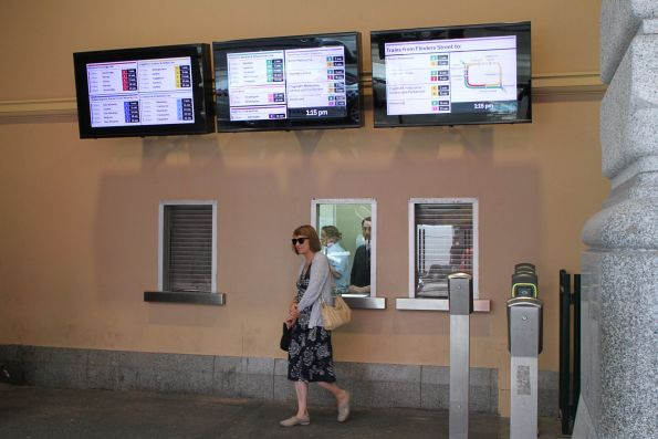 New format displays above the Elizabeth Street ticket office at Flinders Street Station