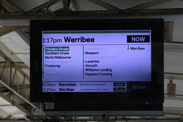 New format display at Flinders Street, stuck showing a non-existent Werribee service