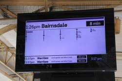 New format display at Flinders Street, showing a Bairnsdale service in tiny impossible to read text