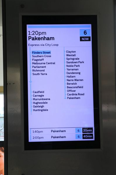 New format display at Flinders Street, showing an 'express' Pakenham service